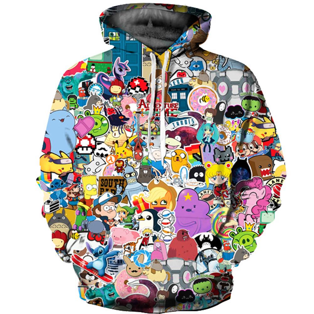 Men Women 3D Digital Printing Hooded Sweatshirts color_S