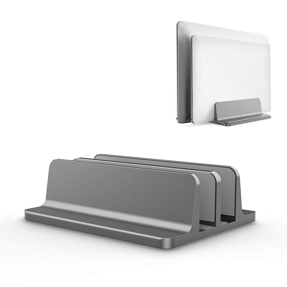 Vertical Laptop Stand Computer Desktop Display Holder Storage Shelves Stand Base for Home Office gray