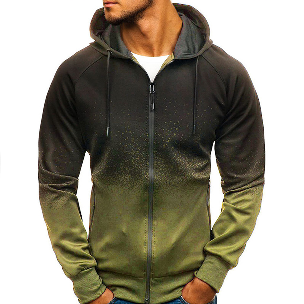 Men 3D Gradient Digital Printing Zipper Hooded Sweatshirt ArmyGreen_L