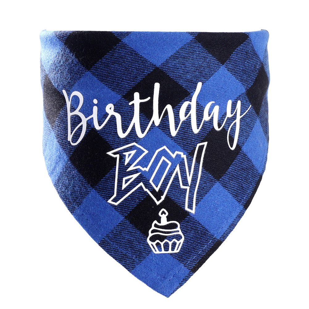 Pet Cotton Saliva Towel Cat Dog Party Birthday Bibs Scarf Supplies blue_Suitable for neck circumference 20-42cm
