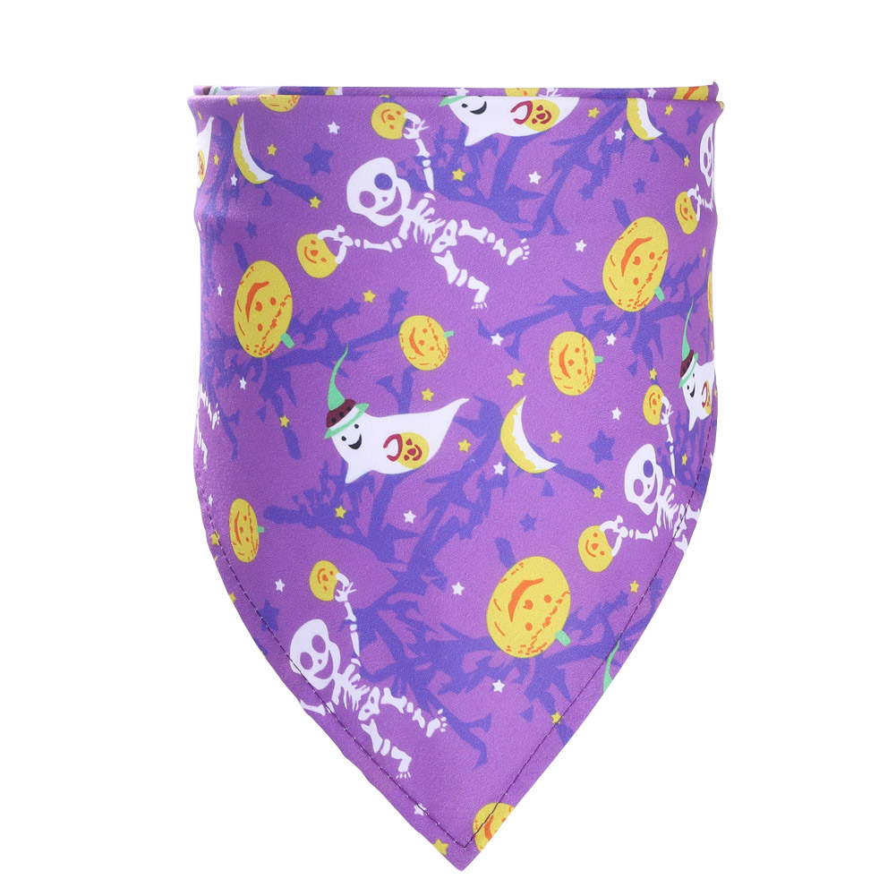 Decorative Scarf Printing Generic Pet Saliva Towel for Dogs and Cats 07 pumpkin with human bone on purple background (single layer)_Suitable for pets with a neck circumference of 20-46CM
