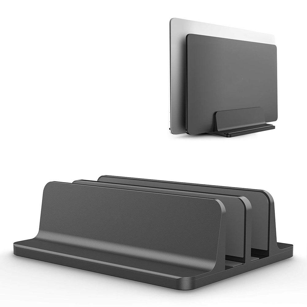 Vertical Laptop Stand Computer Desktop Display Holder Storage Shelves Stand Base for Home Office black