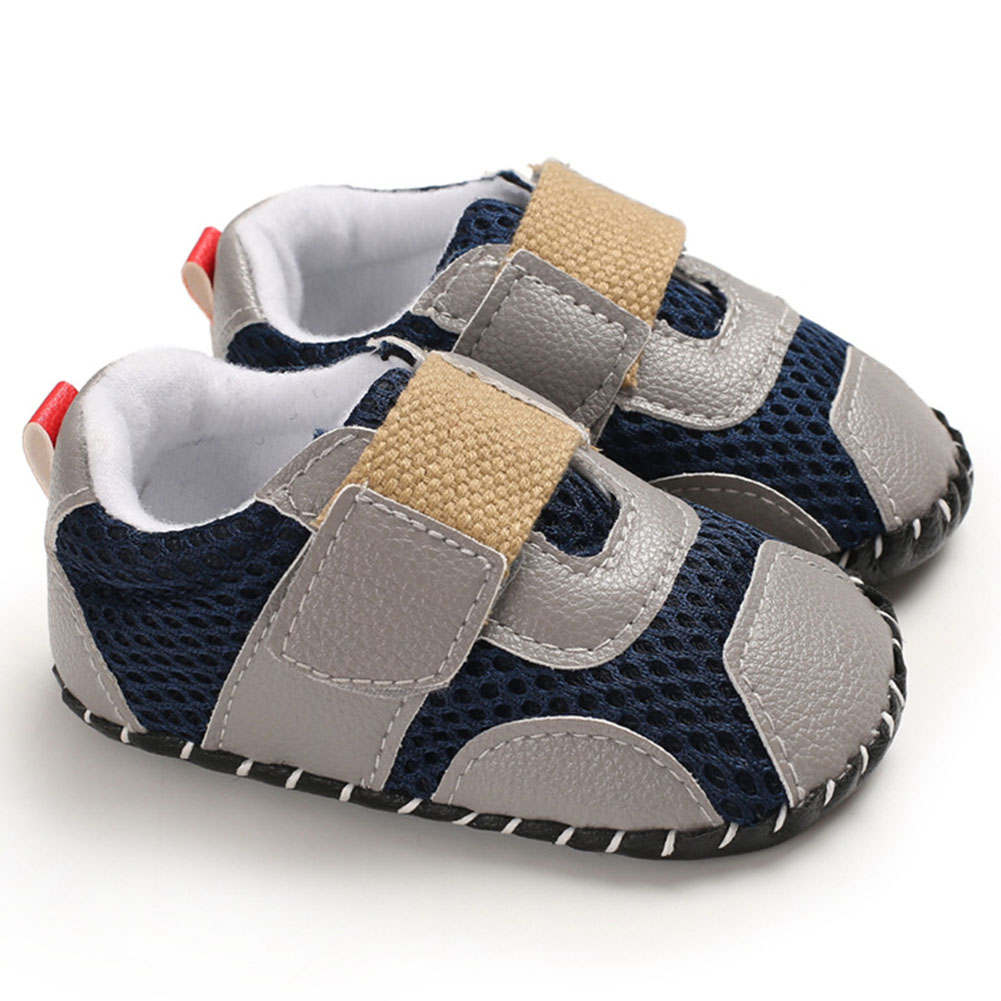 0-1 Years Baby Infant Boys Soft Rubber Sole Shoes Sports Mesh Cloth Breathbale Shoes with Magic Sticker  gray_Inside length 11 cm