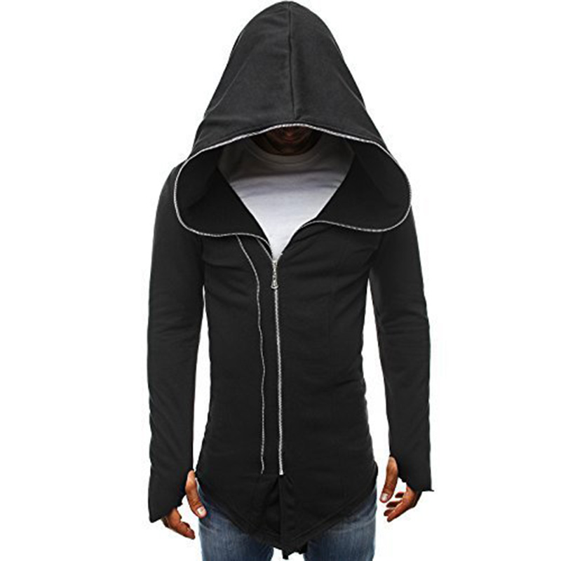 Men Dark Cloak Design Hoodie Fashionable Warm Hooded Pullover Top with Zipper Closure black_M