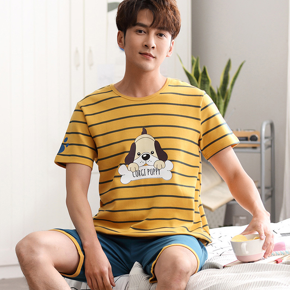 Summer Couples Sleepwear Set Strips Shirt+Shorts Plus Size Home Wear for Man and Woman Couples 9 Men_XXL