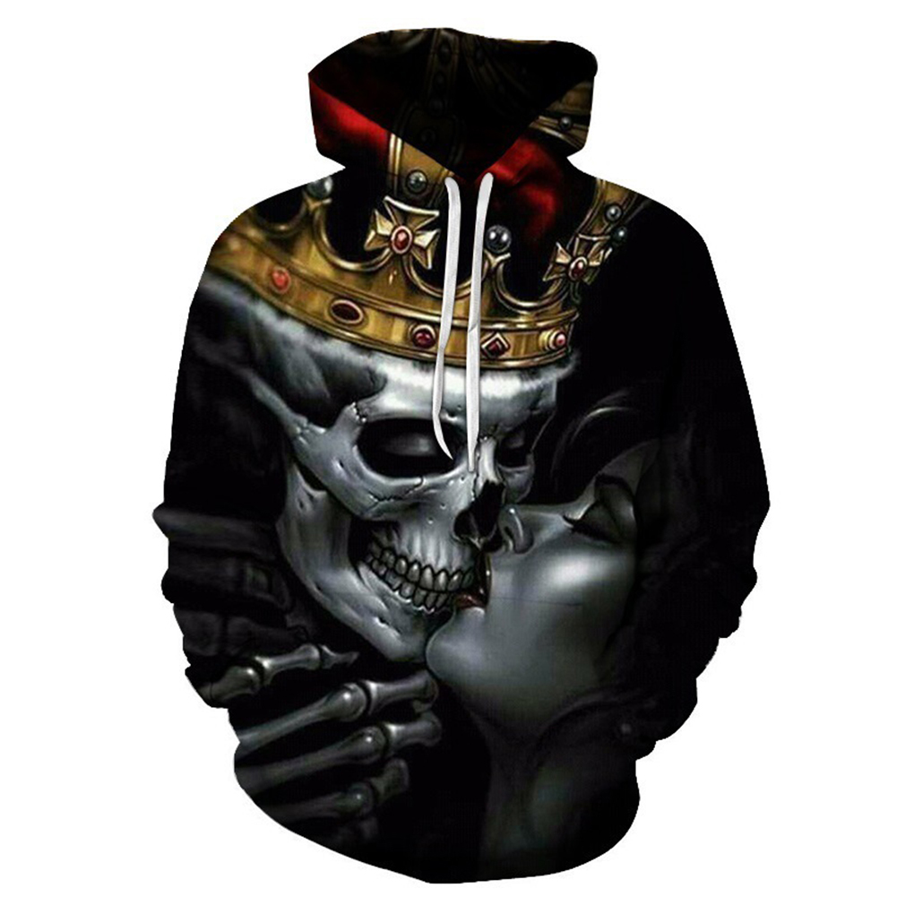 Unisex 3D Crown Skull Kiss Hoodies Couples Fashion Hooded Tops Baseball Sweatshirts as shown_M