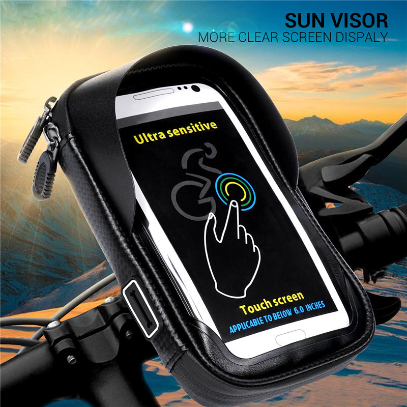 6.0 inch Waterproof Bike Bicycle Mobile Phone Holder Stand Motorcycle Handlebar Mount Bag for iPhone X Samsung LG Huawei black