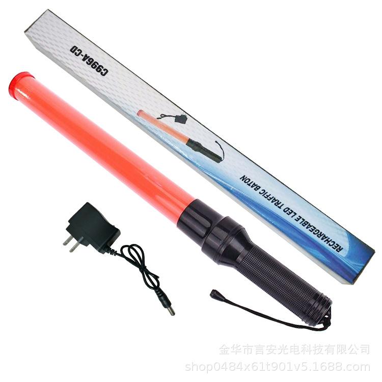 54cm LED Charging Traffic Baton Safety Signal Warning Flashing Red Light 100-240V China flat plug