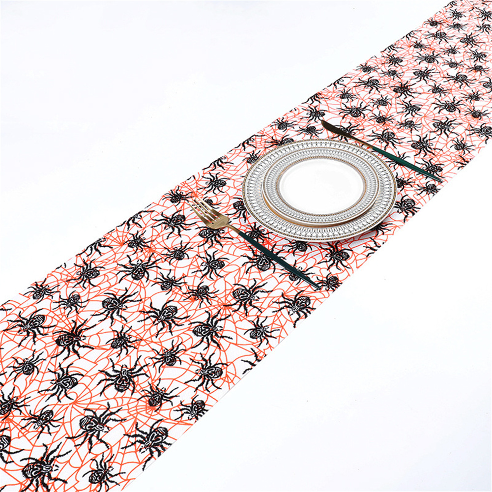 Table Cloth Halloween Style Fine Linen Printed Table  Runner Household Decoration Ornaments Orange spider