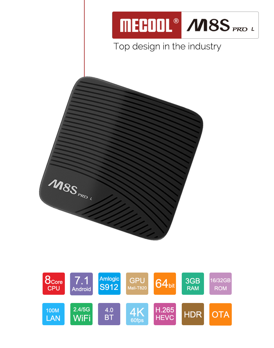 M8S PRO Android 7.1 TV BOX Voice Control  Streaming Media Player US Plug