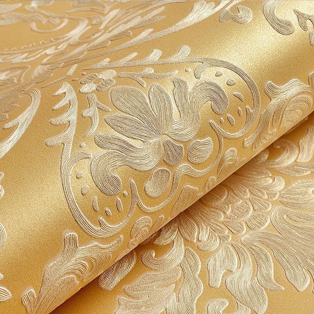 10M Fashion Modern Non-woven Wallpaper 3D Pattern Dust-Proof Moisture-Proof Wall Paper Hotel Living Room Bedroom Decor gold yellow