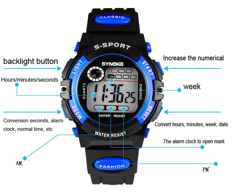 Multi Function Sports Watch LED Digital Waterproof Alarm Electronic Watch