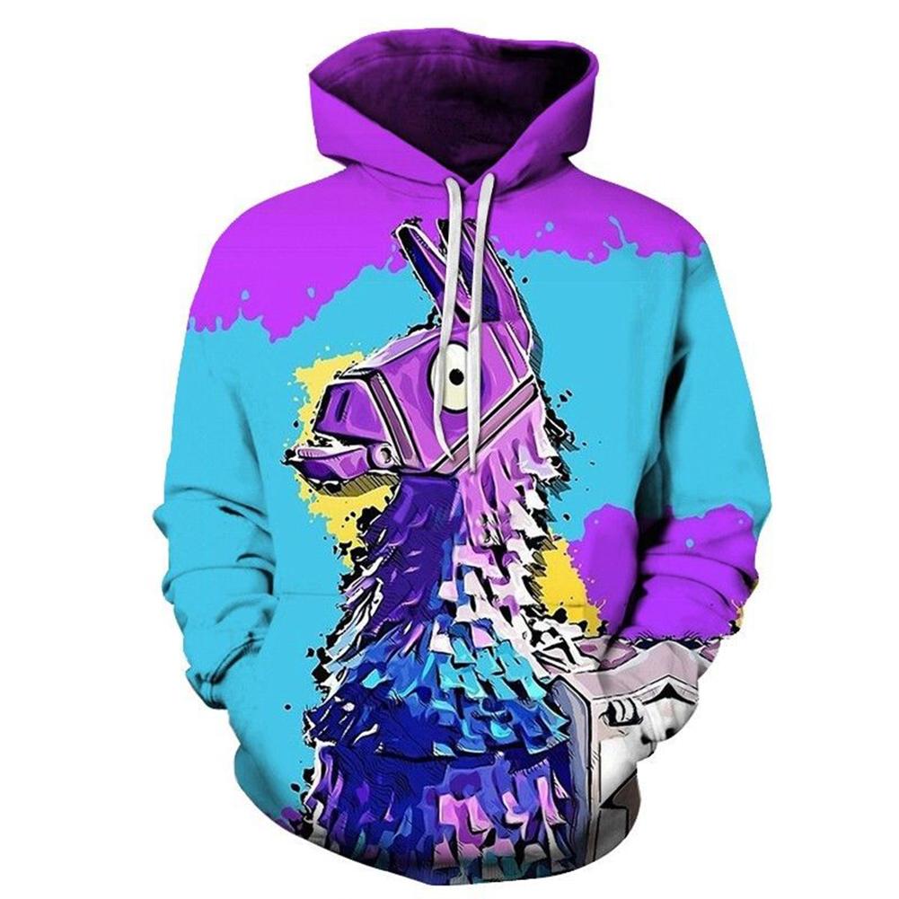 3D Digital Purple Donkey Printing Hooded Sweatshirts Purple donkey_XXL