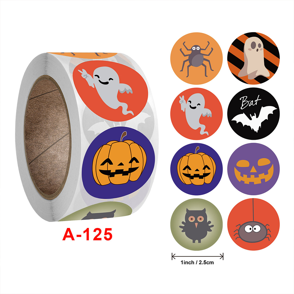 500 Sheets/roll Self-adhesive Halloween  Roll  Sticker Multiple Halloween Pattern Candy Envelope Sticker 2.5cm / 1inch