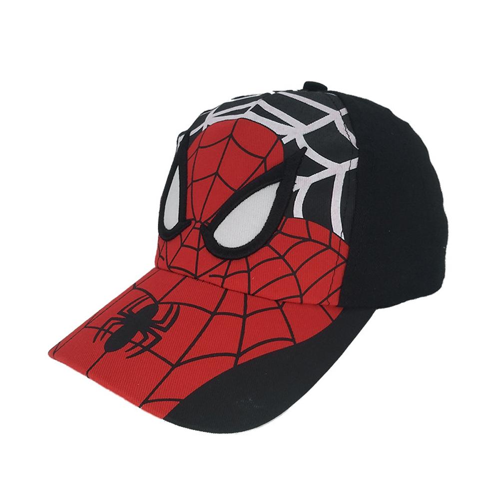 Children Youth Spider Man Cotton Cartoon Baseball Cap Outdoor Leisure Sun Protection Hat Black red_Cloth cap