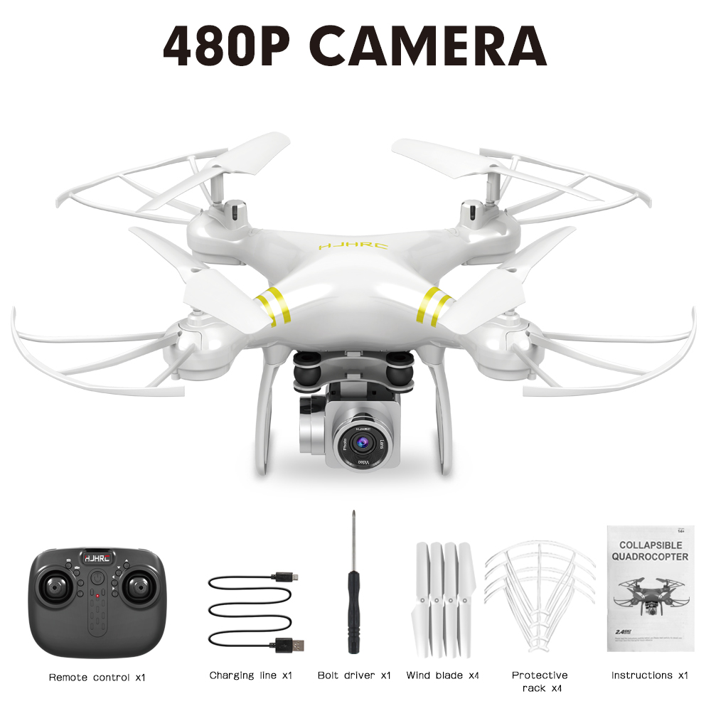 HJ101 Wifi Camera Air Pressure Fixed Height Face Recognition Drone White 480P+ face recognition