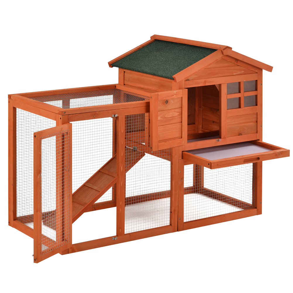[US Direct] Natural Wooden  House Pet Supplies Small Animal House Cage Rabbit Hutch Orange