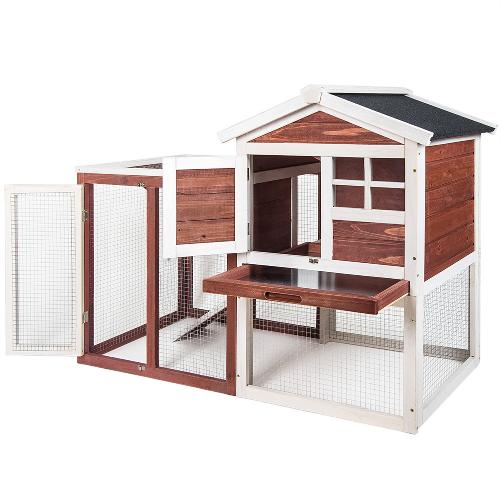 [US Direct] Natural Wooden  House Pet Supplies Small Animal House Cage Rabbit Hutch Auburn