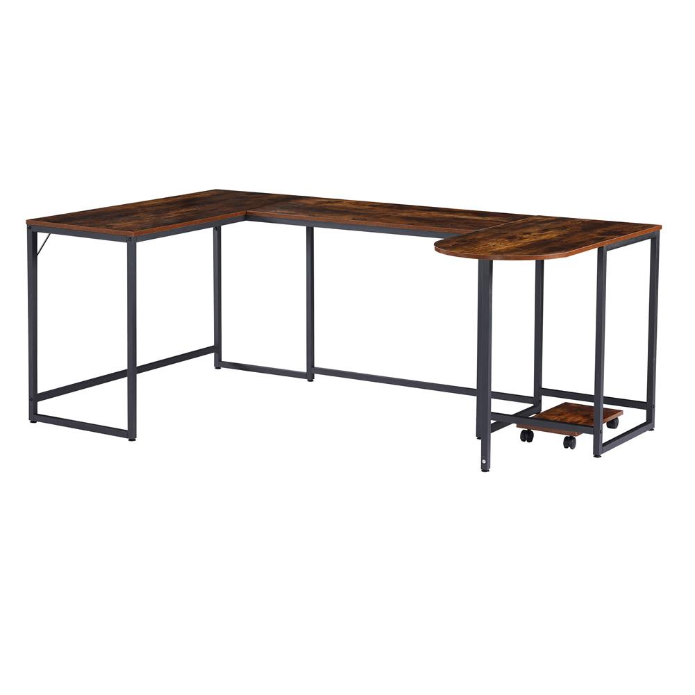 [US Direct] U-shaped Computer  Desk Industrial Corner Writing Desk With Cpu Bracket Gaming Desk Workstation Desk For Home Office Brown