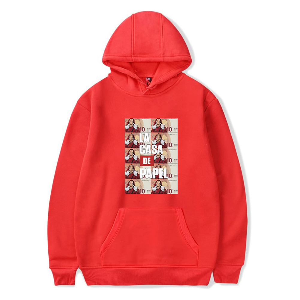 Long Sleeves Hoodie Loose Sweater Pullover with Unique Pattern Decor for Man and Woman Red B_M