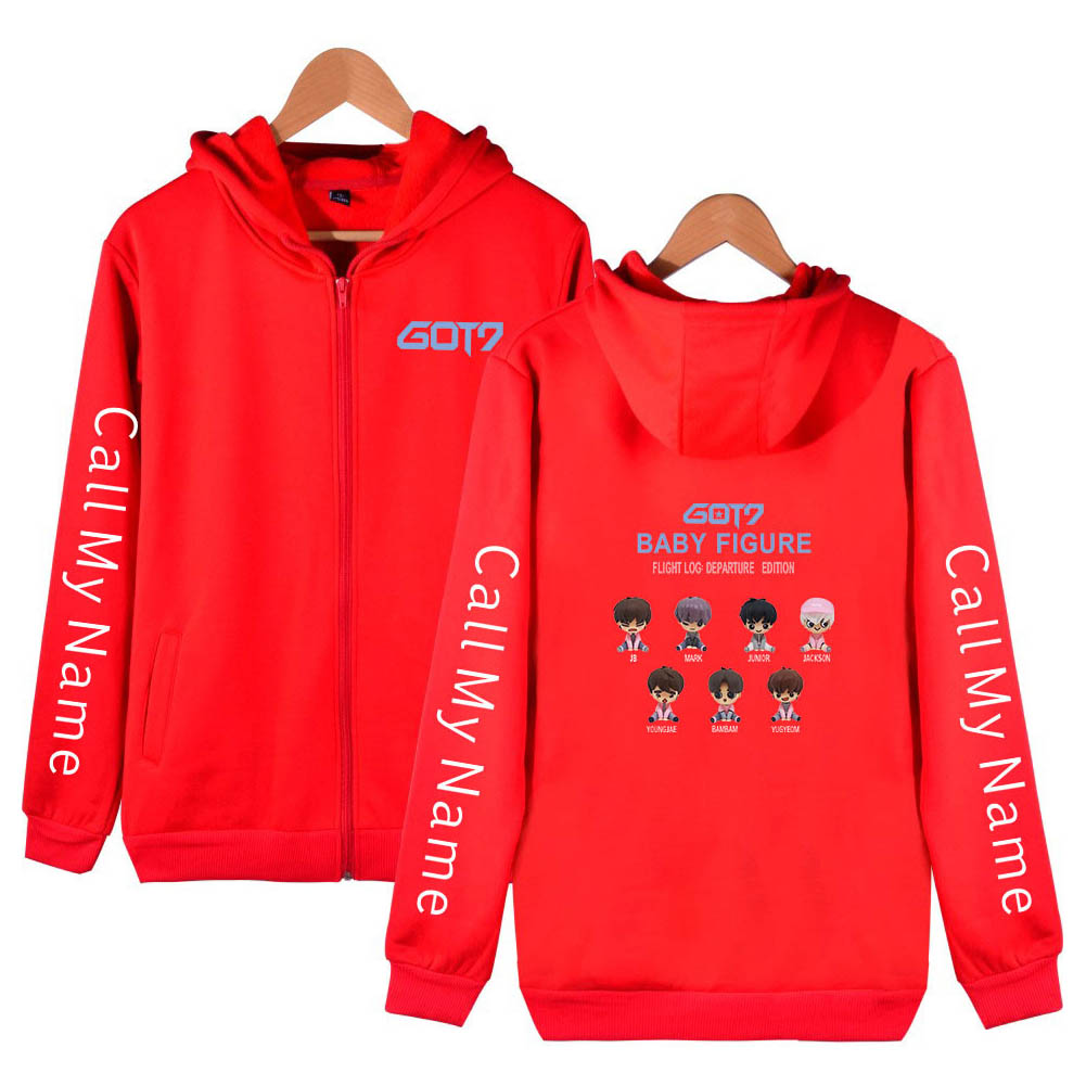 Zippered Casual Hoodie with Cartoon GOT7 Pattern Printed Leisure Top Cardigan for Man and Woman Red B_L