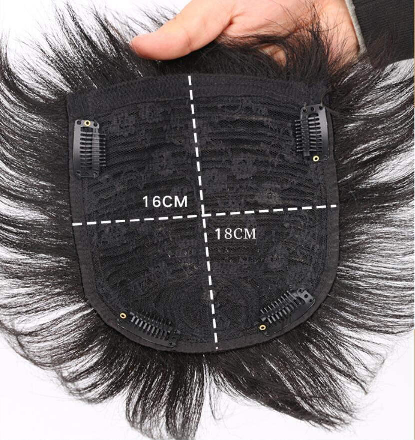 Human Wig Hair Topper Toupee Clip Hairpiece Lace Top Wig for Men Natural black_16x18