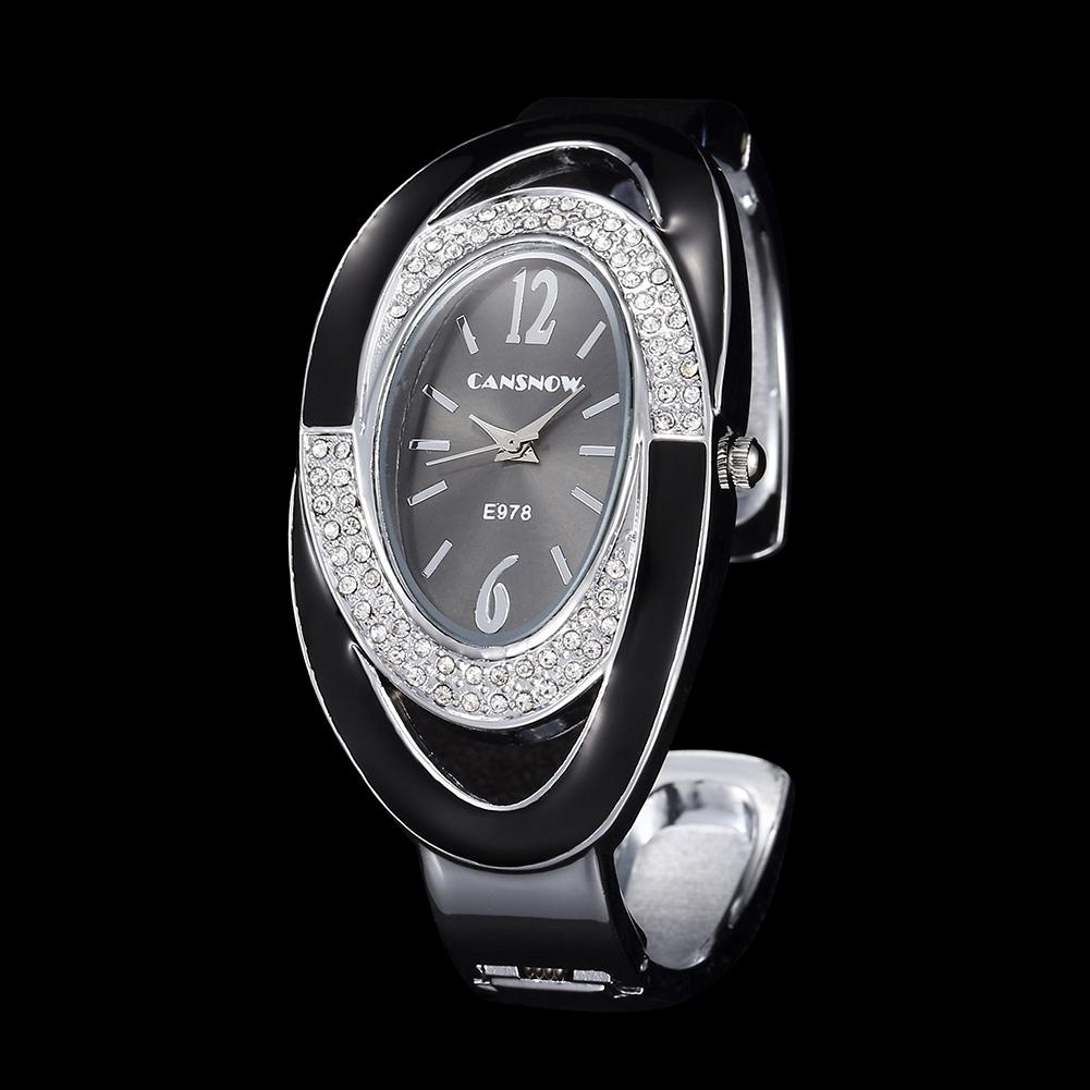 Women Lady Fashion Luxury Quartz Watch All Steel Analog Silver Dial Dress Watch Bracelet Wristwatch Oval black