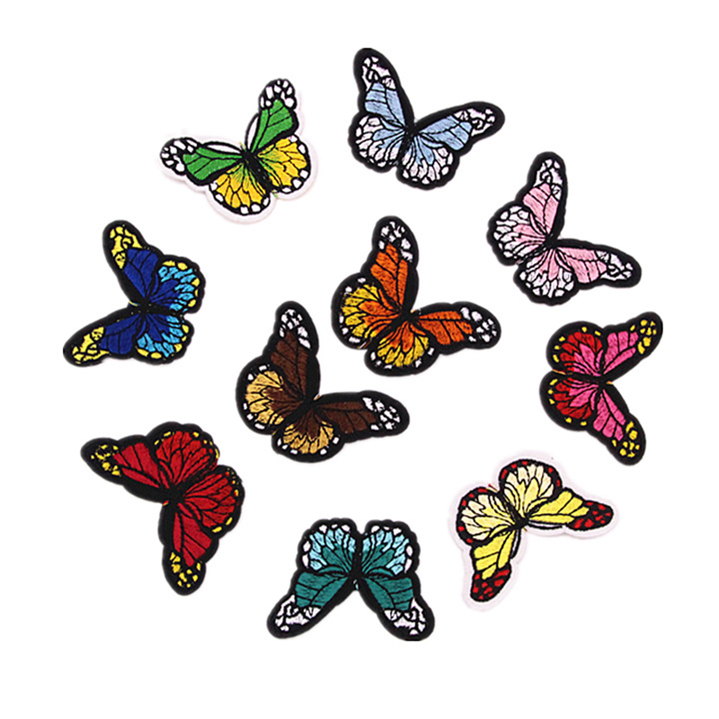 [EU Direct] 10 Colors Butterfly Patches for Clothing Iron on Embroidered Appliques Summer Clothes Fabric Badges DIY Apparel Accessories 6.7*4.7cm