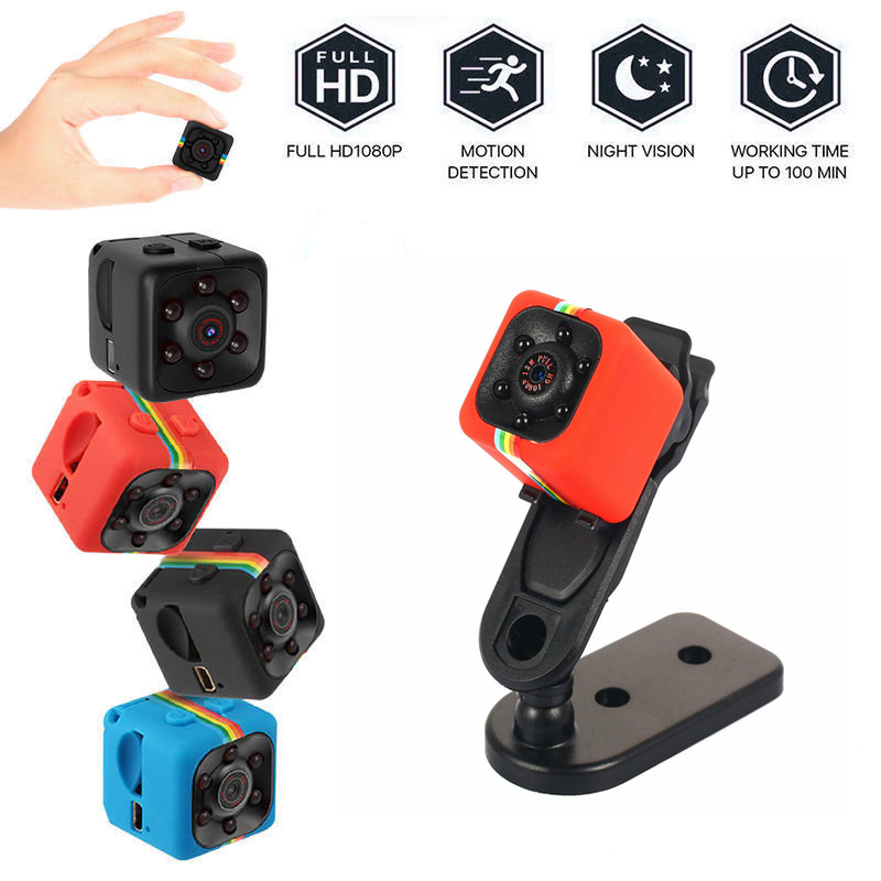 Sq11 Hd 1080p Mini Camera 6 Leds Night Vision Wide View Built-in Mic Portable Camera red