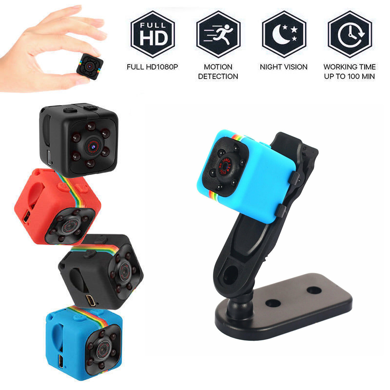 Sq11 Hd 1080p Mini Camera 6 Leds Night Vision Wide View Built-in Mic Portable Camera blue