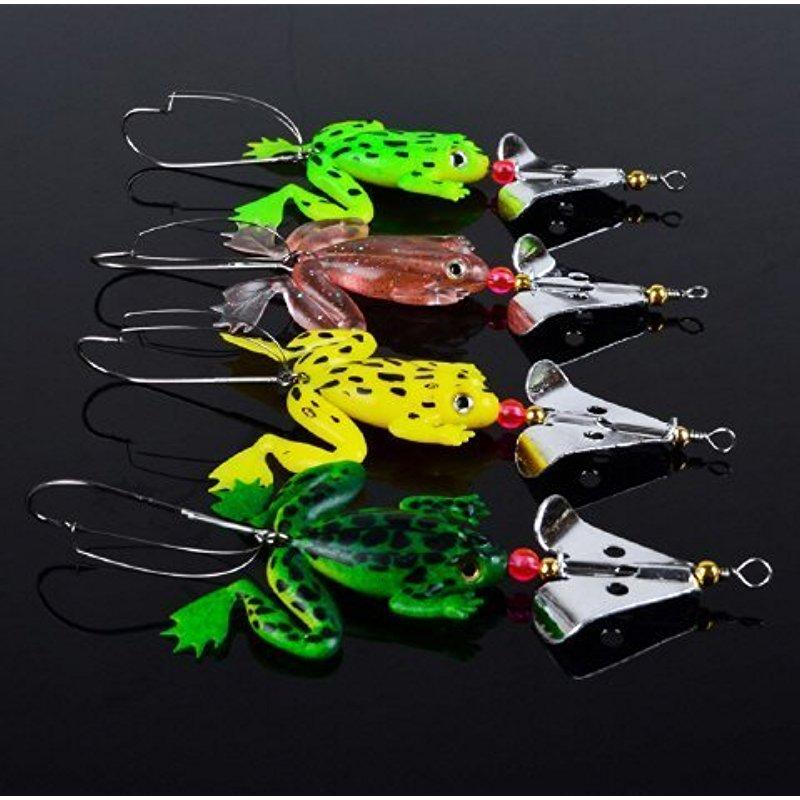 [EU Direct] Lot 4pcs Rubber Frog Soft Fishing Lures Bass CrankBait Tackle 9cm/3.54`/6.2g by paxipa