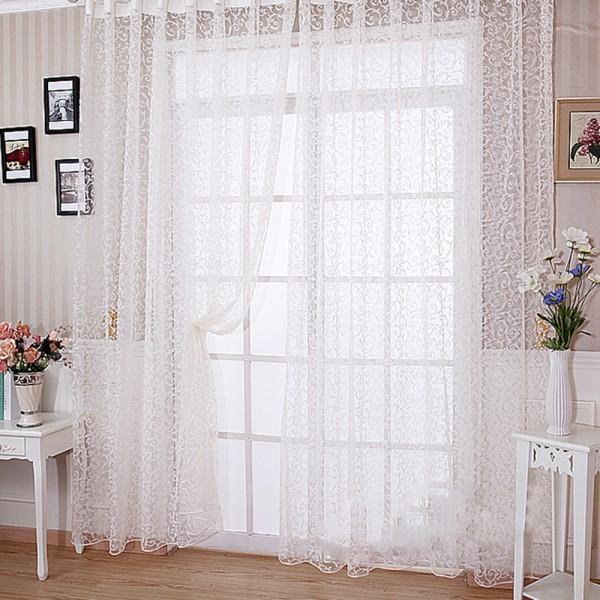 [EU Direct] 1 PCS Soft Black Translucidus Window Curtain of Modern Style Home decoration choice-White