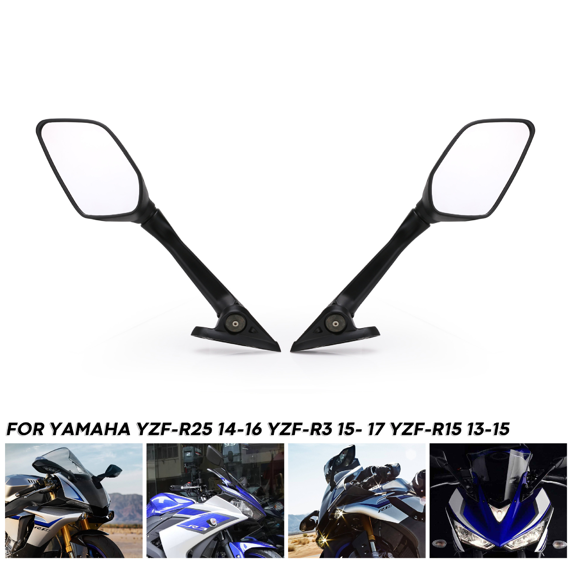 2pcs Motorcycle Rearview Mirrors Moto Side Rear View Mirrors for Yamaha YZF-R2 R3 R15 14-17