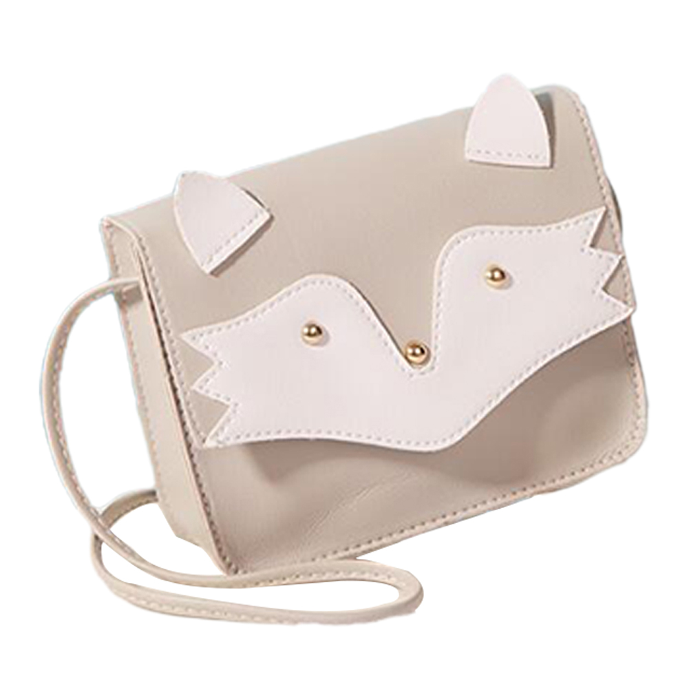 Women Mini Cellphone Bag Satchel Cartoon PU Leather Combined Color Single Strap Square Bag gray