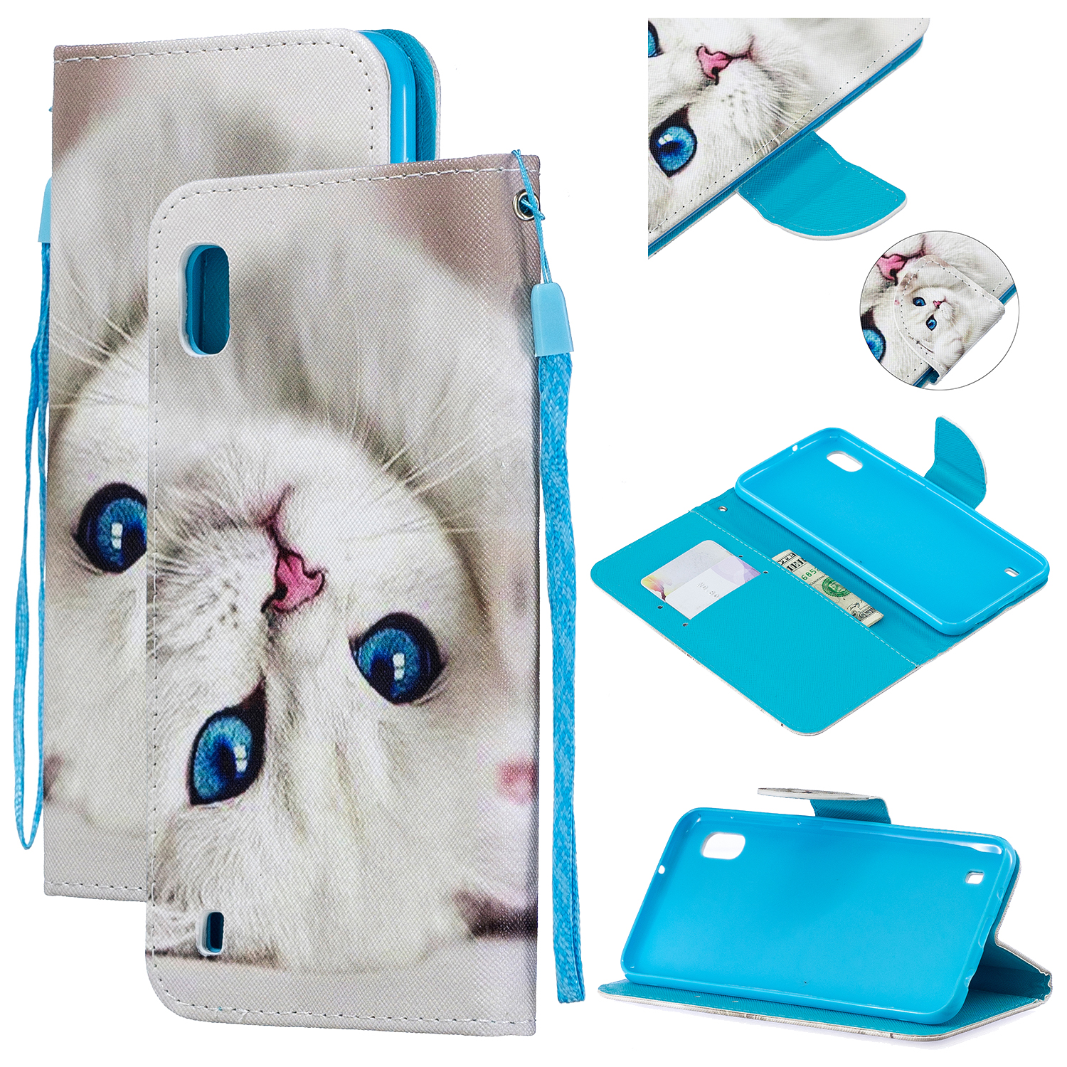 For Samsung A10/A20/A30 Smartphone Case PU Leather Wallet Design Cellphone Cover with Card Holder Stand Available Blue eyes cat