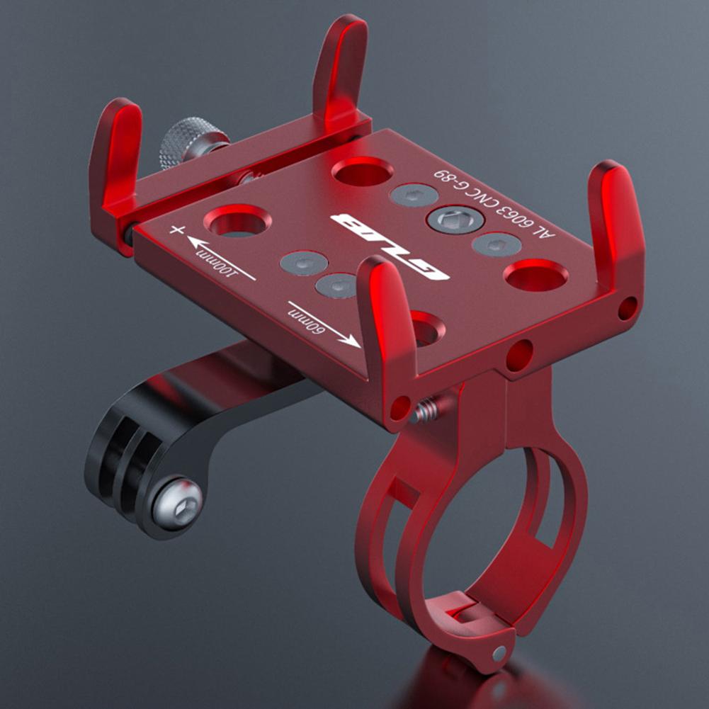 Mountain Bikes  Phone  Holder Width 60-100mm Aluminum Alloy Mobile Phone Bracket Installed Motion Camera Phone Holder red_22.2-31.8 round handlebar applicable