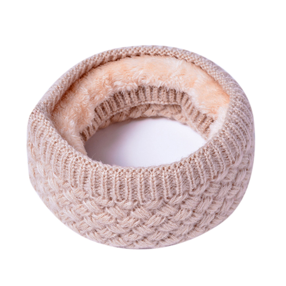Unisex Winter Scarf Thickened Wool Knitting Collar Scarves Warm Neck Scarf  Beige_50*20cm