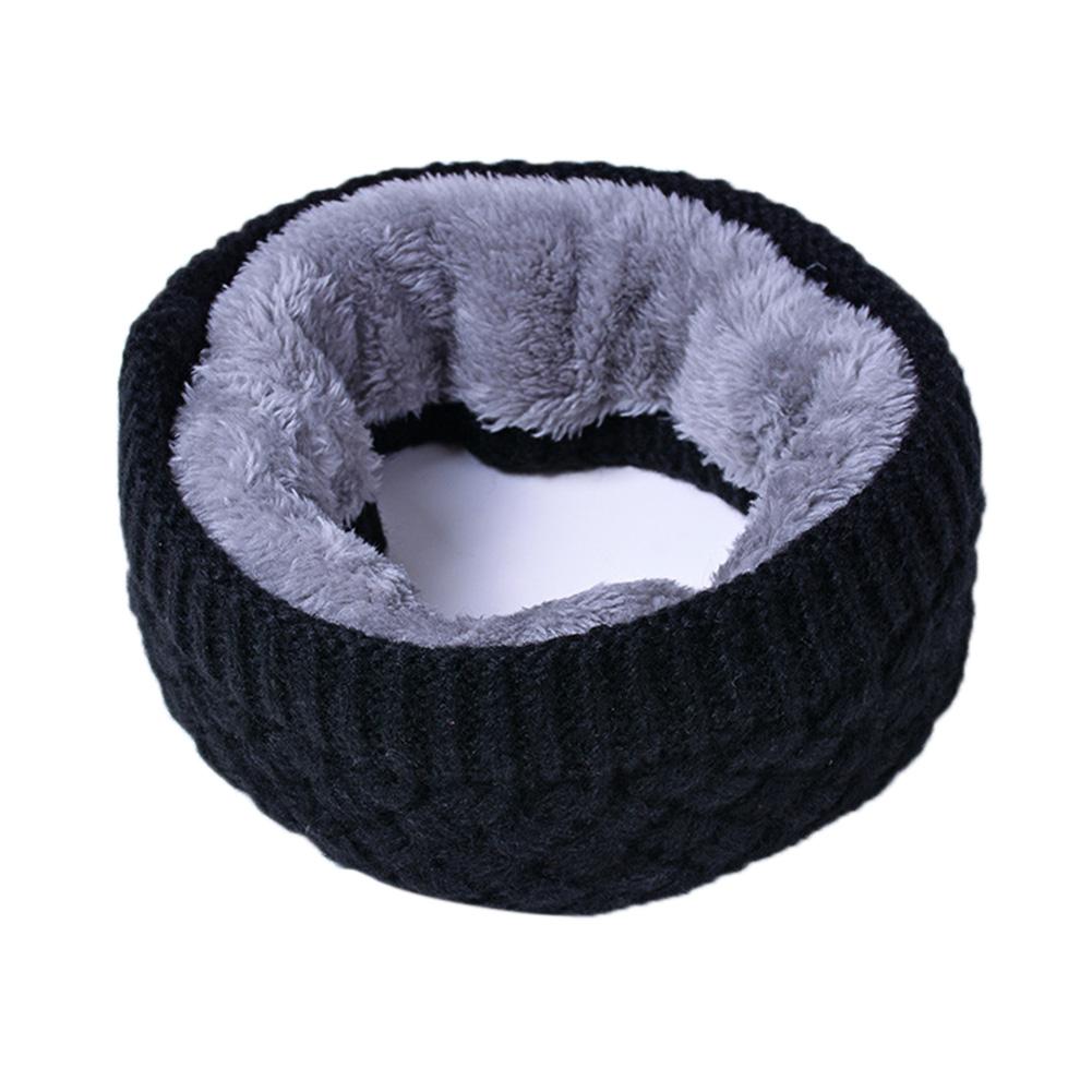 Unisex Winter Scarf Thickened Wool Knitting Collar Scarves Warm Neck Scarf  black_50*20cm
