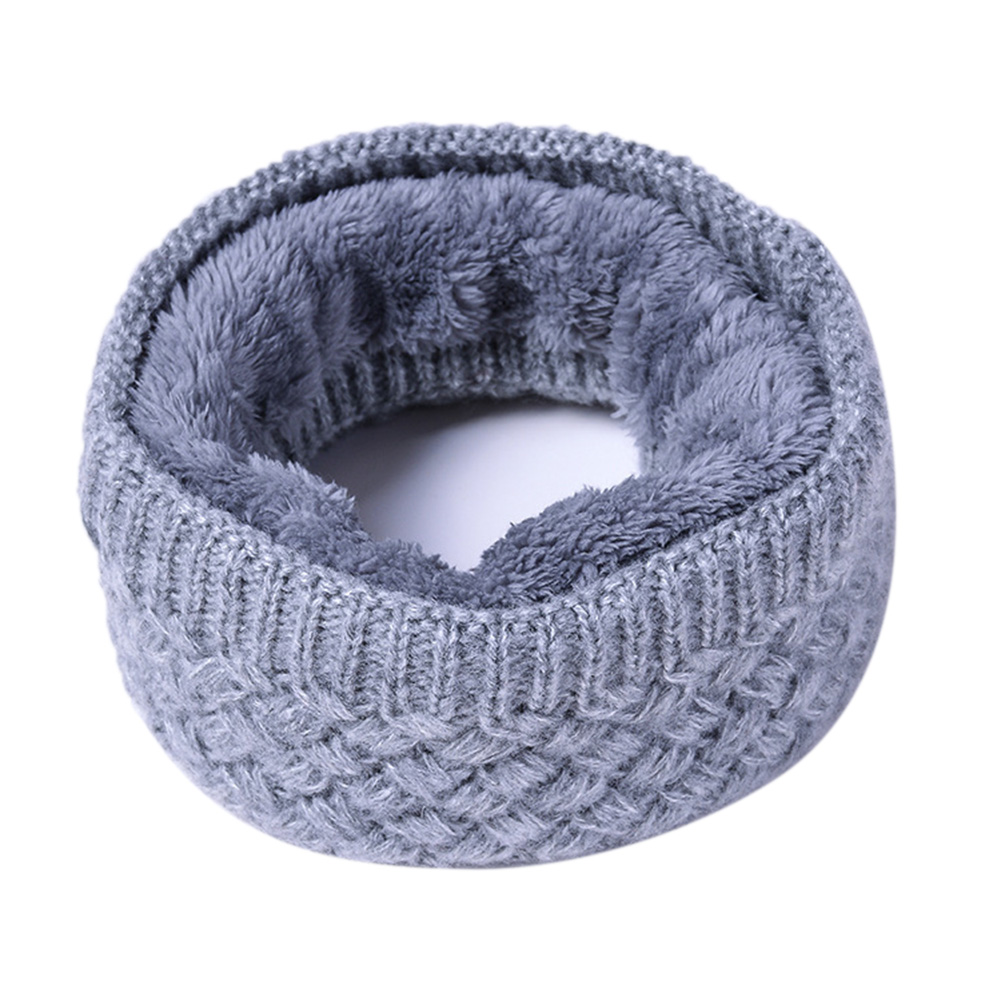 Unisex Winter Scarf Thickened Wool Knitting Collar Scarves Warm Neck Scarf  gray_50*20cm