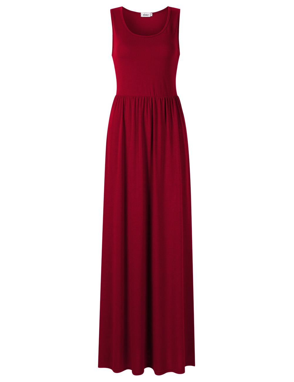 [US Direct] Ladies vest pleated pocket long skirt wine red 85_M missky