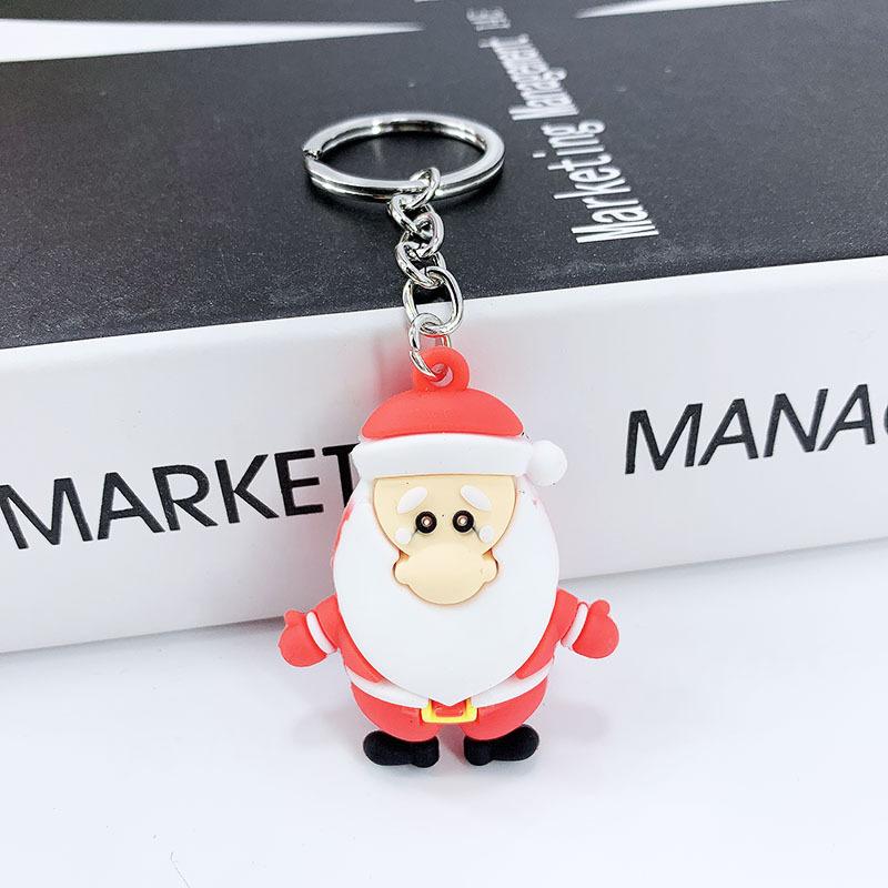 New Creative PVC Silicone Christmas Key Ring Keychain Small Gift Bag Car Key Pendant Santa A