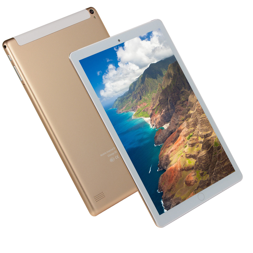 10.1 Inch 6G+64G Tablet 6797 Ten Core 8800mah 1960*1080 High Definition Dual Cards E-book WIFI+GPS+1300W Android 8.0 Wireless Bluetooth Gold