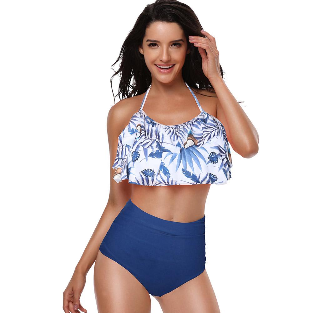 2 Pcs/set Children Girl Mother Parent-child Ruffle Printing Swimsuit Suit