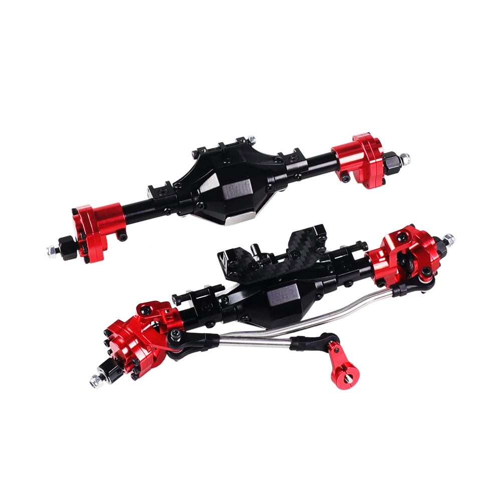 SCX10 Aluminum CNC Anodized Full Front Rear Portal Axle for 1/10 RC Crawler Car Axial SCX10 II 90046 90047 Upgrade Parts Before + after