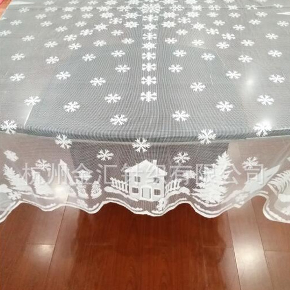 Christmas Tablecloth Snowflake Elk Lace Table Cloth Glass Table Cover Polyester Wedding Decoration white_Diameter 178cm round
