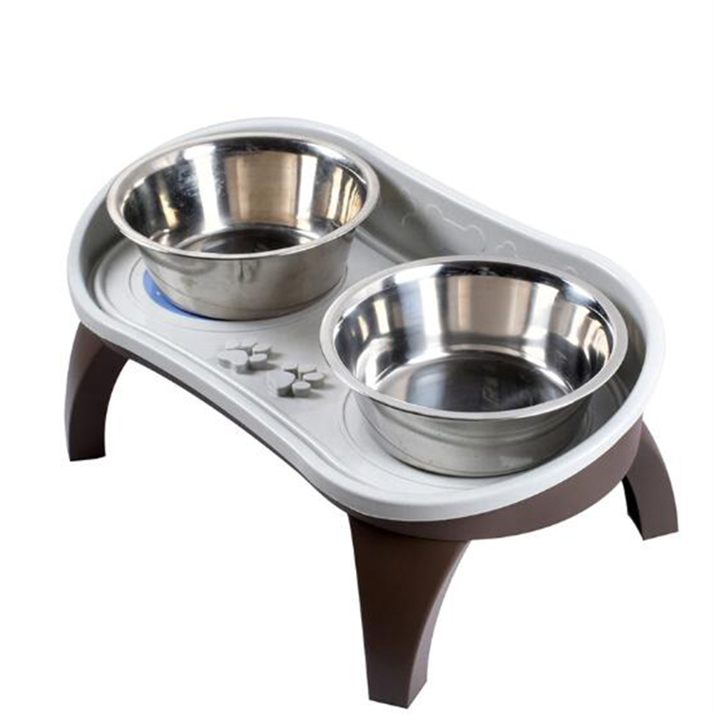 Cervical Spine Protect Pet Dining Table Set for Medium Large Size Pet Dogs Dish rack + stainless steel double bowl + leg