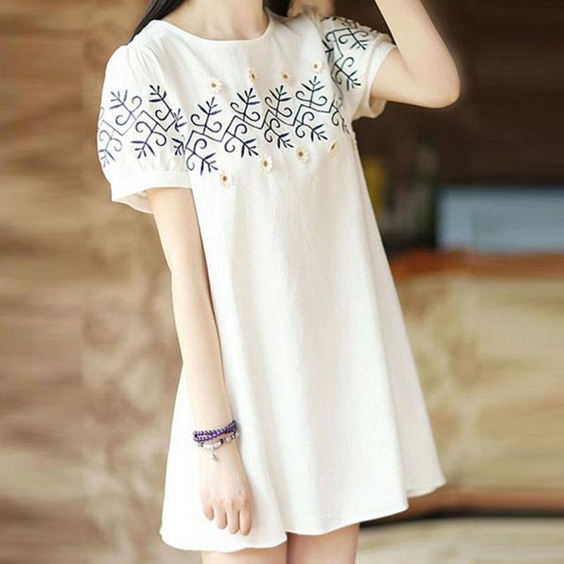Women Summer Fashion Flower Vintage Pattern Short Sleeve Loose Dress white_L
