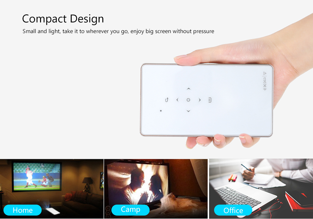 Mini Projector - 100 Lumen, 1080p Support, HDMI, USB, Built-In Speaker, 3.5mm Audio Jack, App Support, 4500mAh, Linux OS