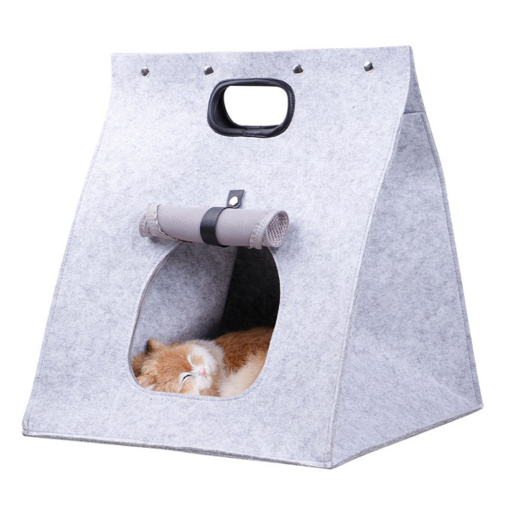 Warm Washable Felt House Animal Cave Nest for Pet Cat Dog Sleeping light grey