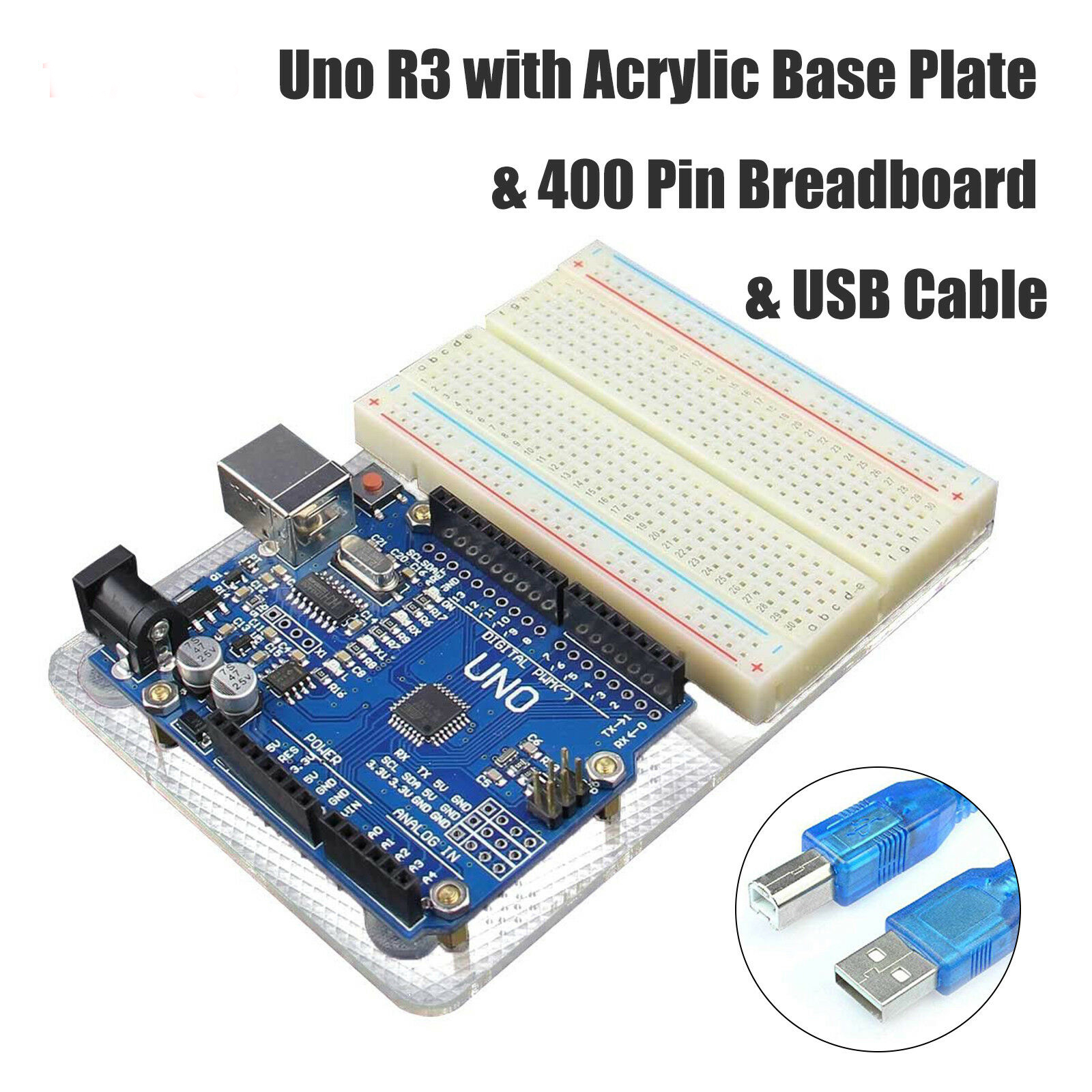 For Arduino Uno R3 Module with Base Plate & 400 Point Breadboard USB Cable R3 with backplane kit